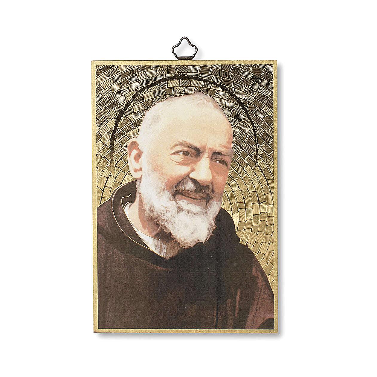 Impressão na madeira Padre Pio 3