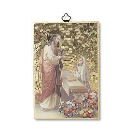Stampa su legno Gesù offre la Comunione ad una Bimba s1