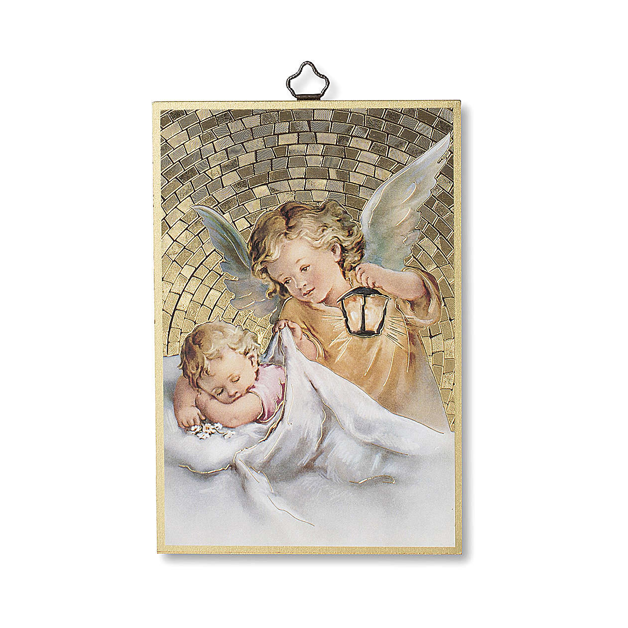 Guardian Angel with Lantern woodcut 3