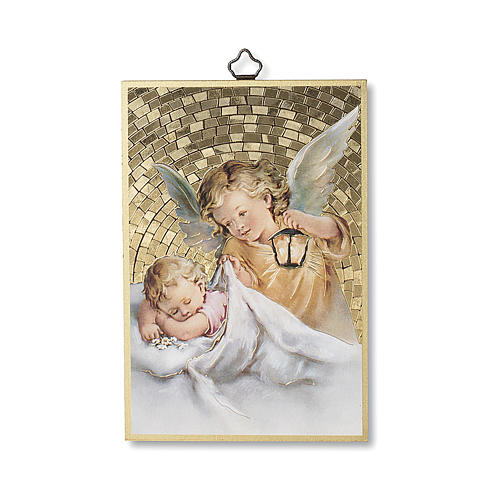 Impreso sobre madera Ángel de la Guarda con Linterna 1