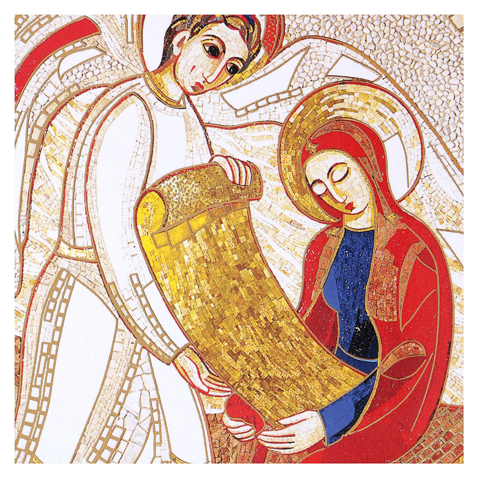 Print on board with Annunciation Rupnik 10x15 cm 3