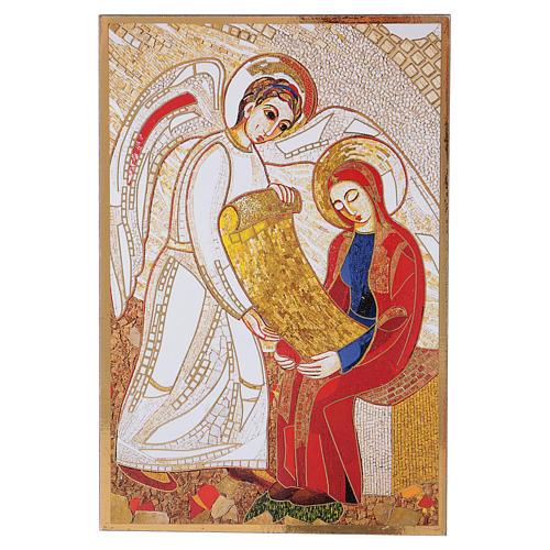 Print on board with Annunciation Rupnik 10x15 cm 1