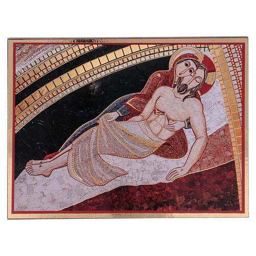 Bedruckte Tafel Pietà nach Rupnik, 10x15 cm