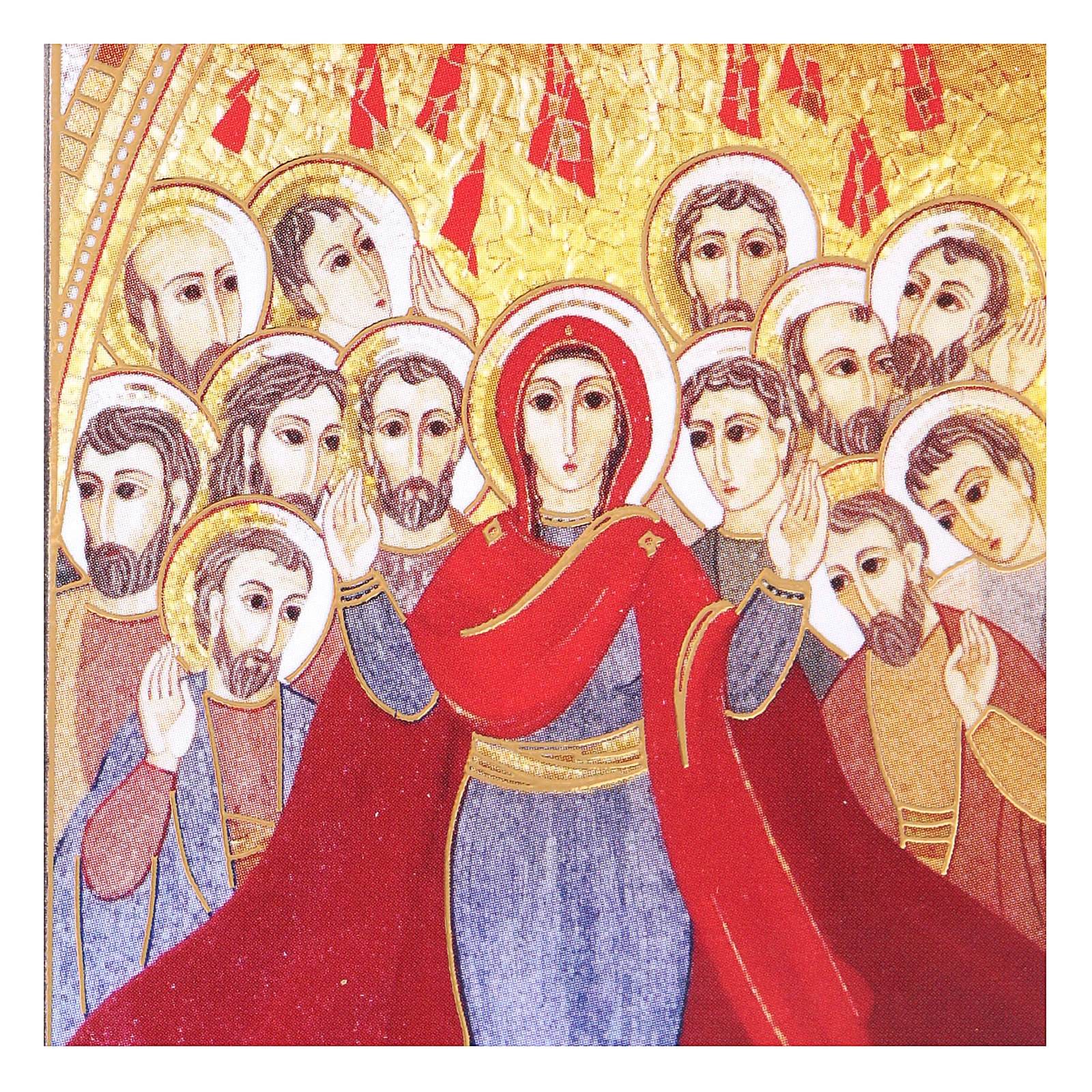 Pentecost picture with mosaic print by Rupnik 5x10 cm 3