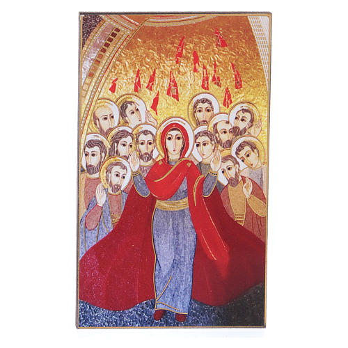 Pentecost picture with mosaic print by Rupnik 5x10 cm 1
