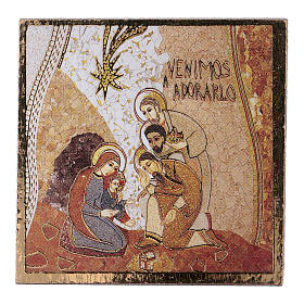 Paintings, printings, illuminated manuscripts: Adoration of the Three Wise Men print by Rupnik 5X5 cm