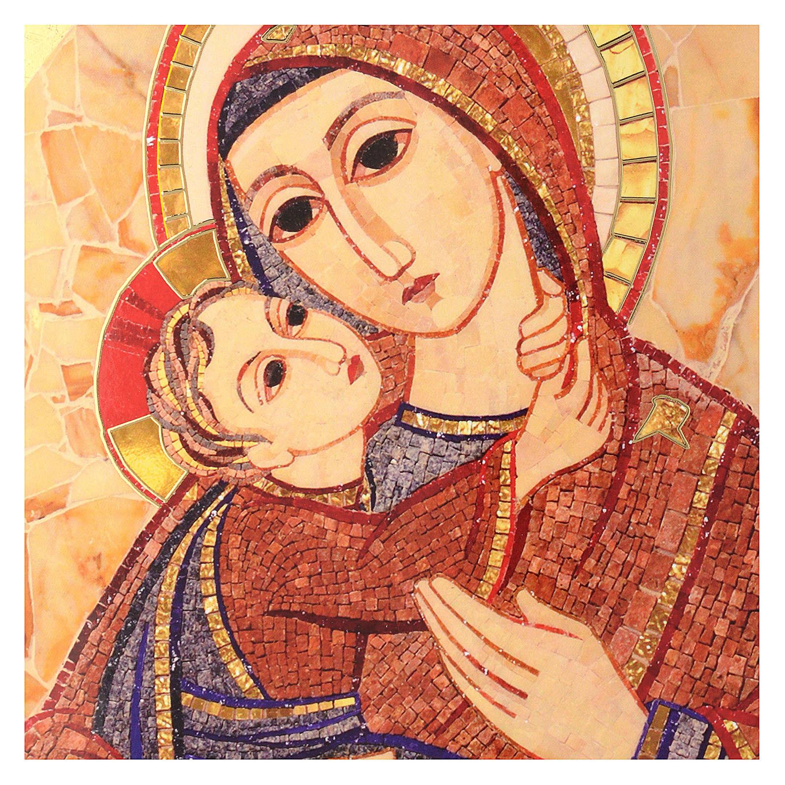 Quadro Madonna con Bambino Rupnik cuspide 30x25 cm 3