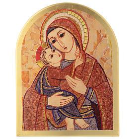 Quadro Madonna con Bambino Rupnik cuspide 30x25 cm s1