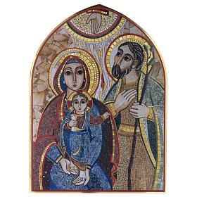 Cuadros, estampas y manuscritos iluminados: Tabla madera con impreso Sagrada Familia mosaico Rupnik 25x35