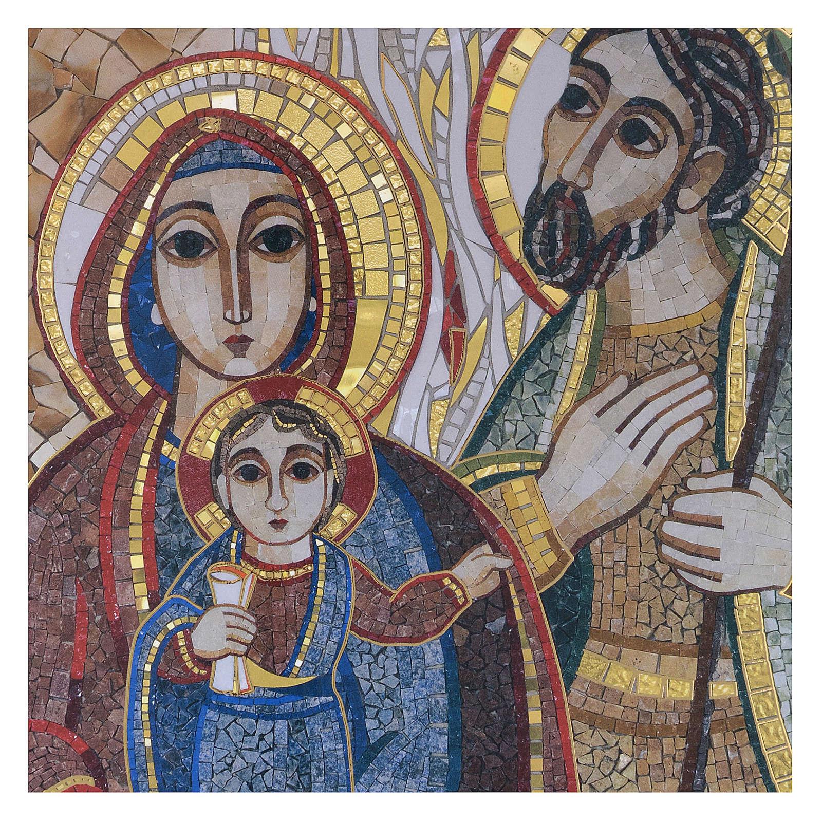 Tavola legno con stampa Sacra Famiglia mosaico Rupnik 25x35 3