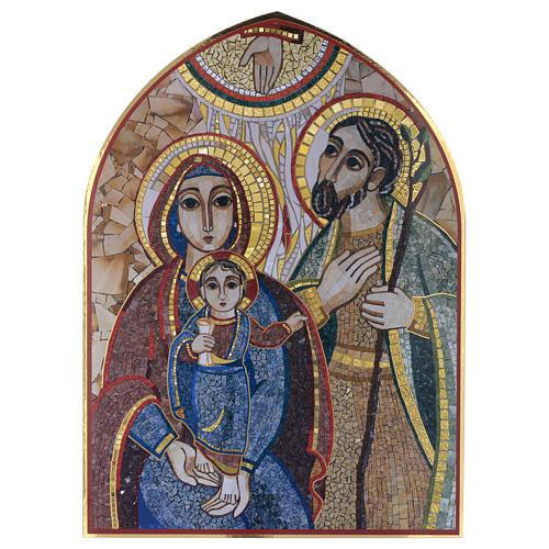 Tavola legno con stampa Sacra Famiglia mosaico Rupnik 25x35 1