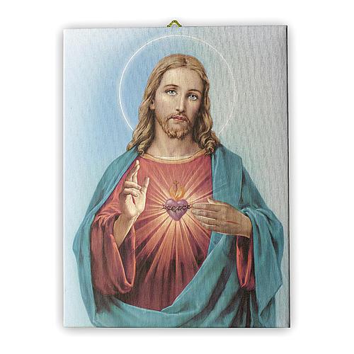 Cuadro sobre tela pictórica Sagrado Corazón de Jesús de María 25x20 cm 1