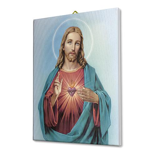 Cuadro sobre tela pictórica Sagrado Corazón de Jesús de María 40x30 cm 2