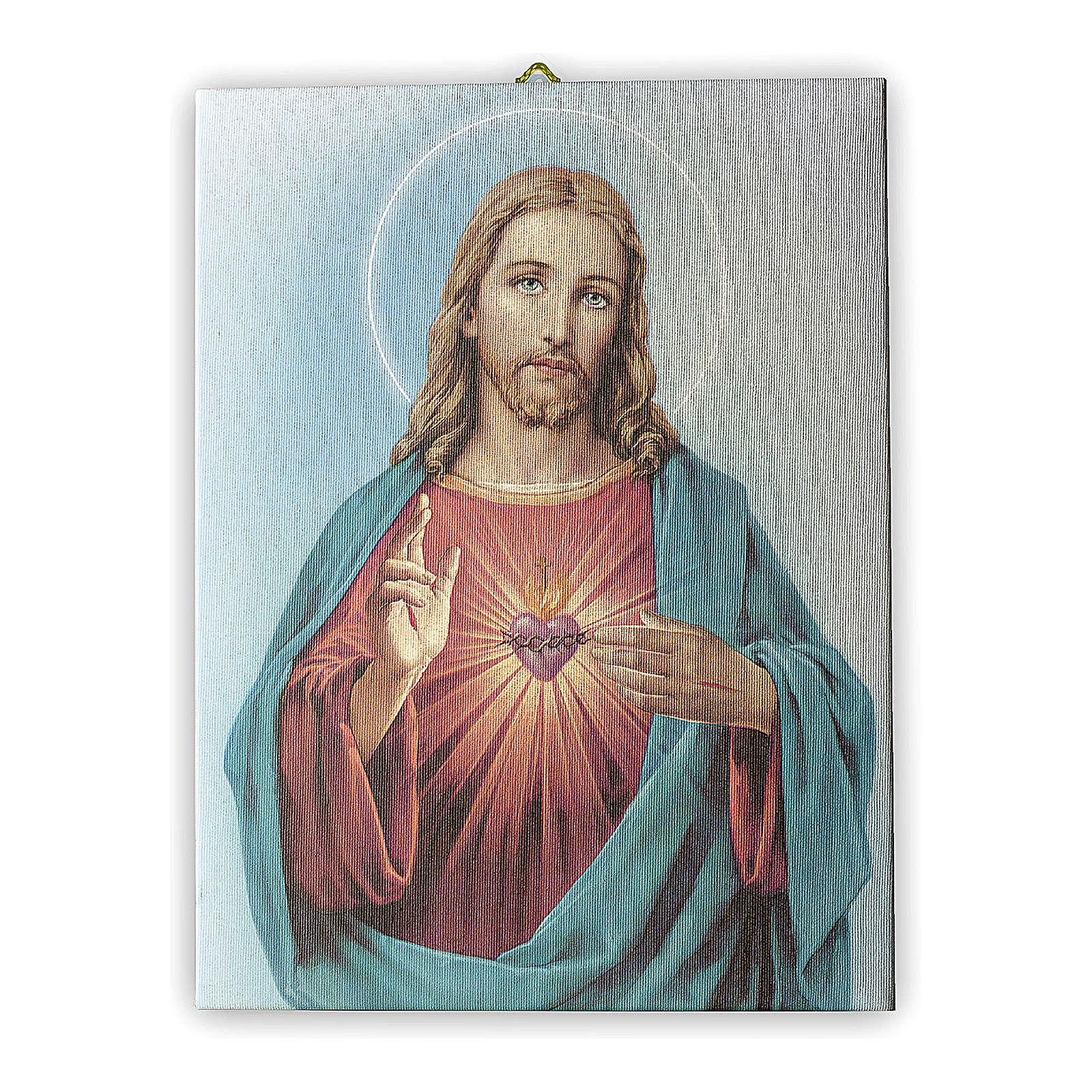 Quadro su tela pittorica Sacro Cuore di Gesù 40x30 cm 3