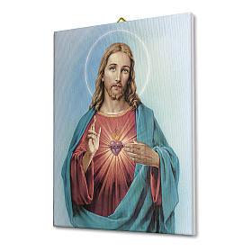 Quadro su tela pittorica Sacro Cuore di Gesù 40x30 cm s2