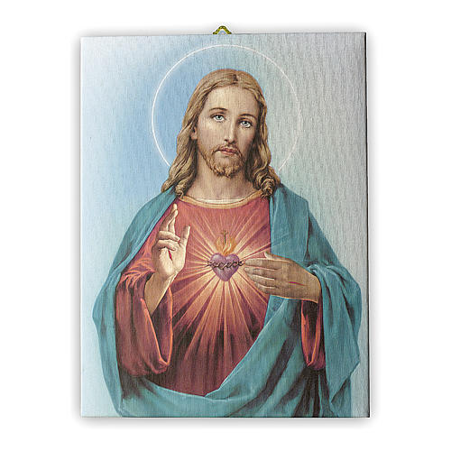 Quadro su tela pittorica Sacro Cuore di Gesù 40x30 cm 1