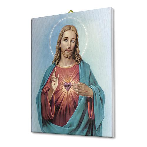 Quadro su tela pittorica Sacro Cuore di Gesù 70x50 cm 2
