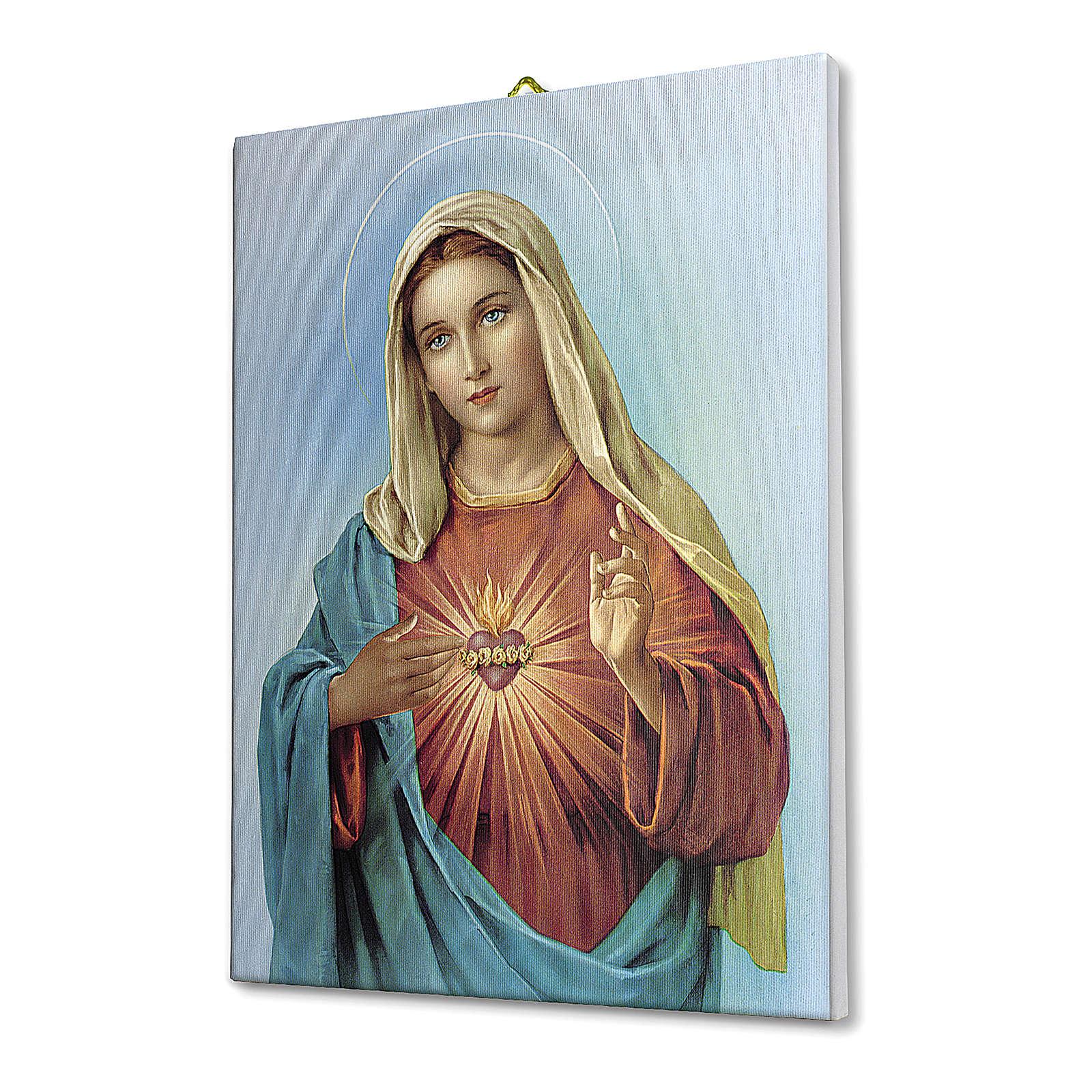 Cuadro sobre tela pictórica Corazón Inmaculado de María 25x20 cm 3