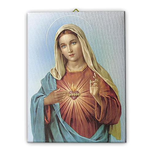 Quadro su tela pittorica Cuore Immacolato di Maria 25x20 cm 1