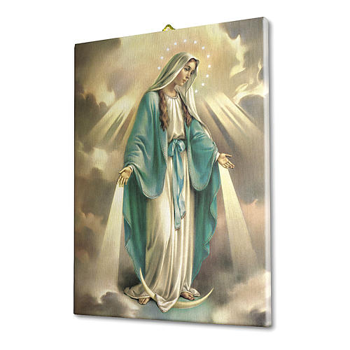 Cuadro sobre tela pictórica Virgen Milagrosa 25x20 cm 2