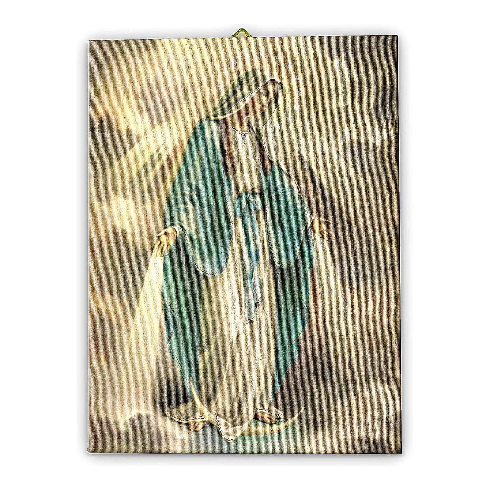 Quadro su tela pittorica Madonna Miracolosa 25x20 cm 3
