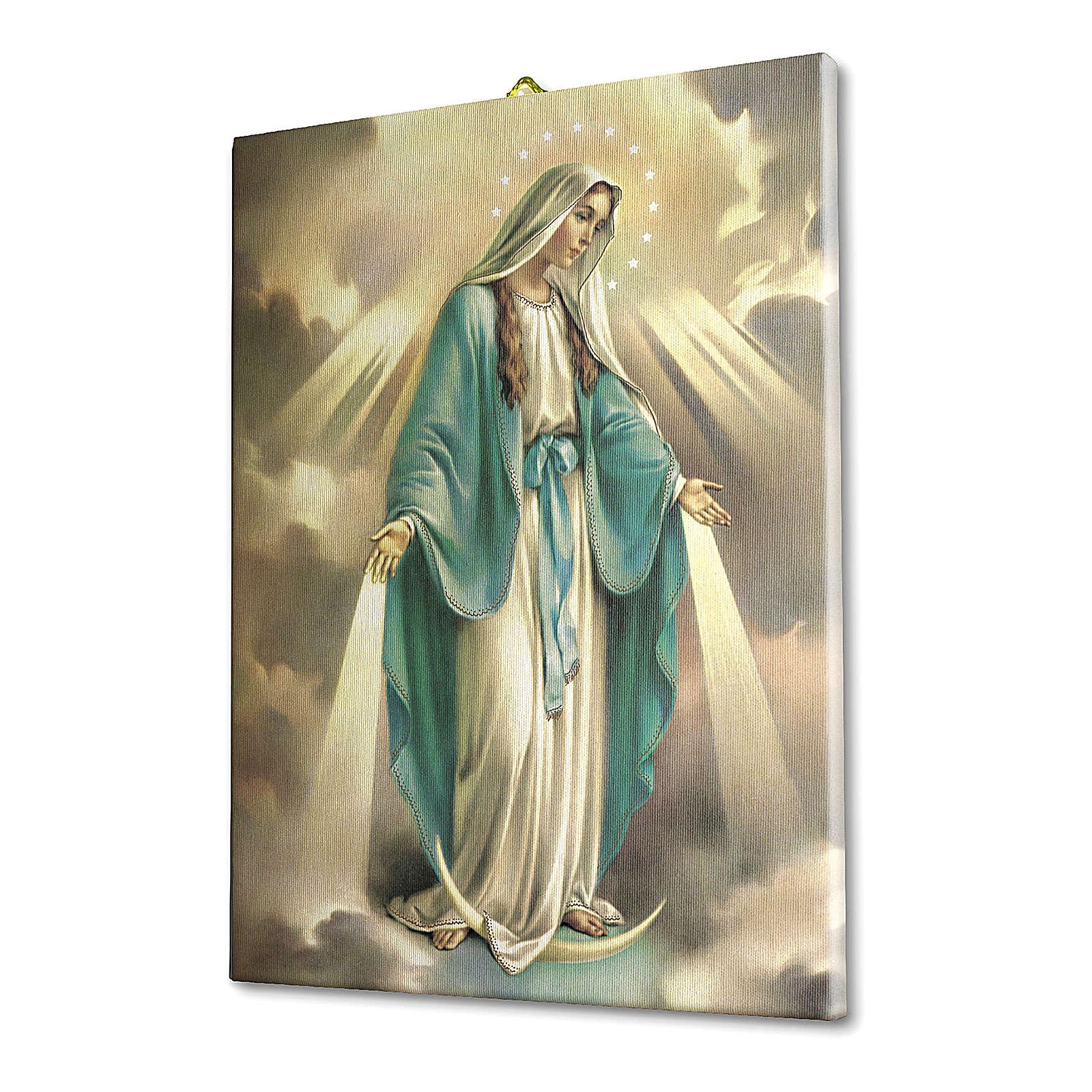 Quadro su tela pittorica Madonna Miracolosa 70x50 cm 3