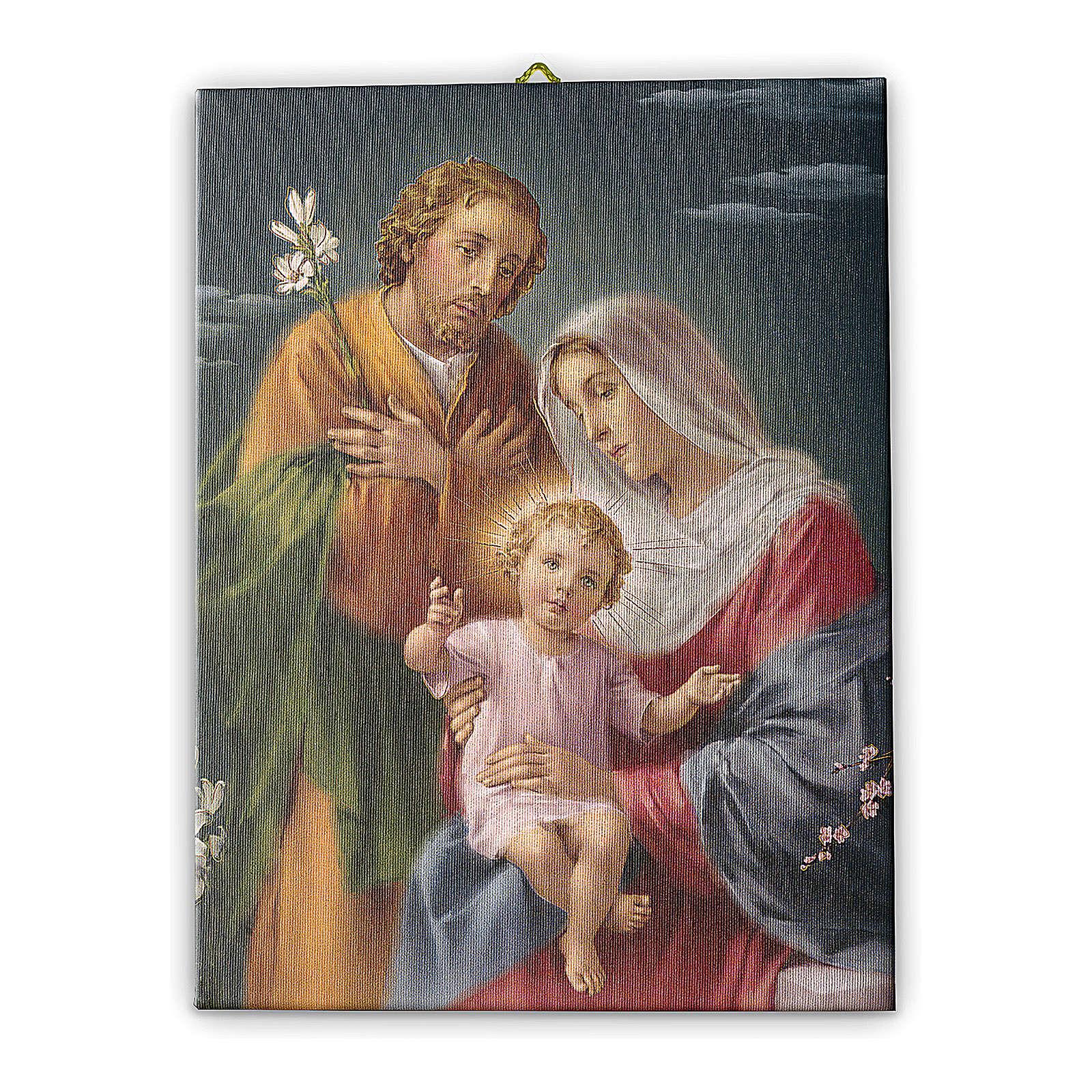 Quadro su tela pittorica Sacra Famiglia 40x30 cm 3