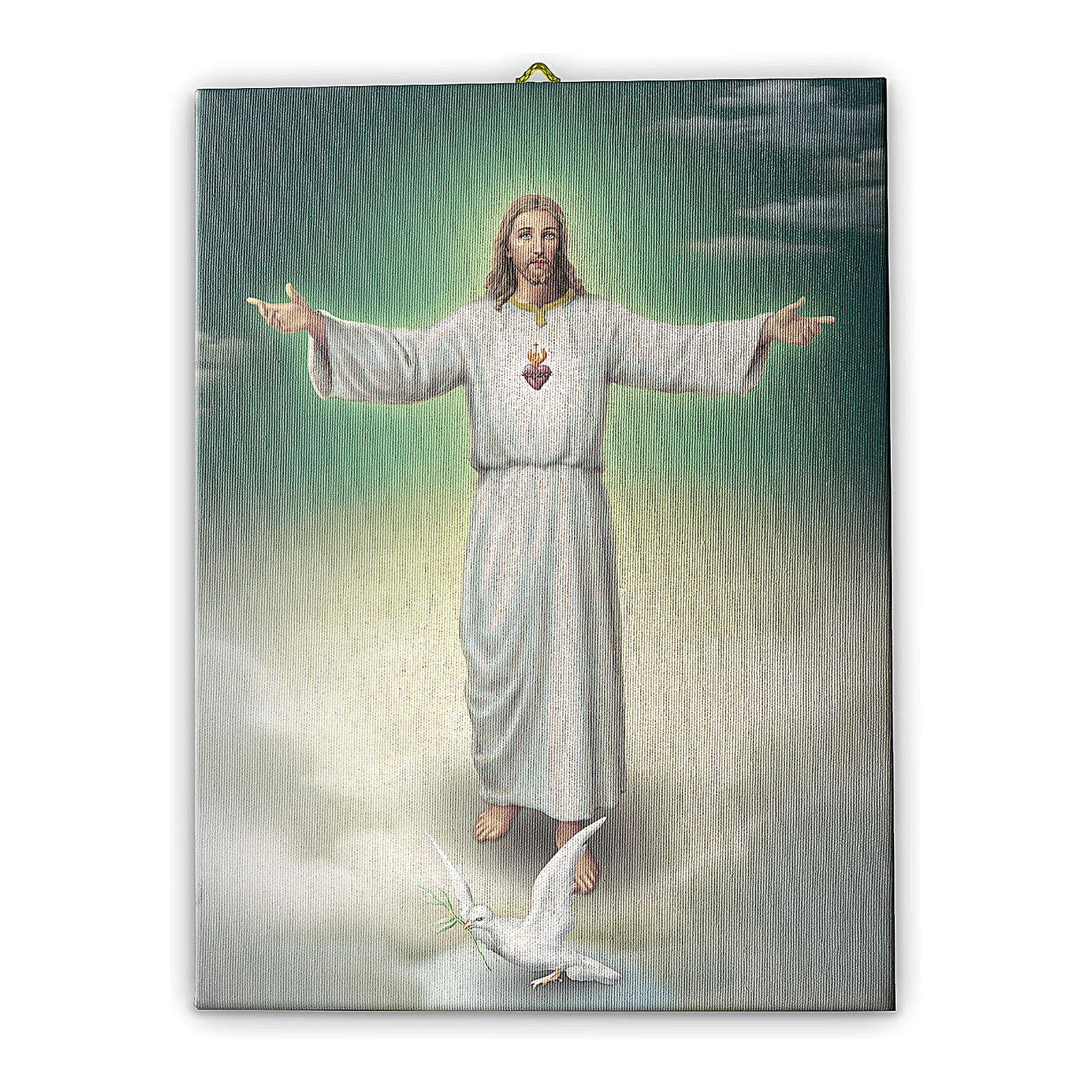Cadre sur toile Jésus à bras ouverts 25x20 cm 3