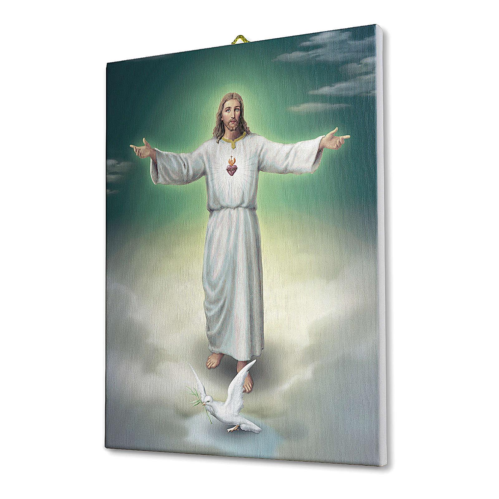 Quadro su tela pittorica L'abbraccio di Gesù 40x30 cm 3