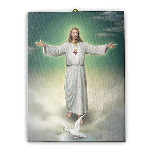 Quadro su tela pittorica L'abbraccio di Gesù 40x30 cm 1