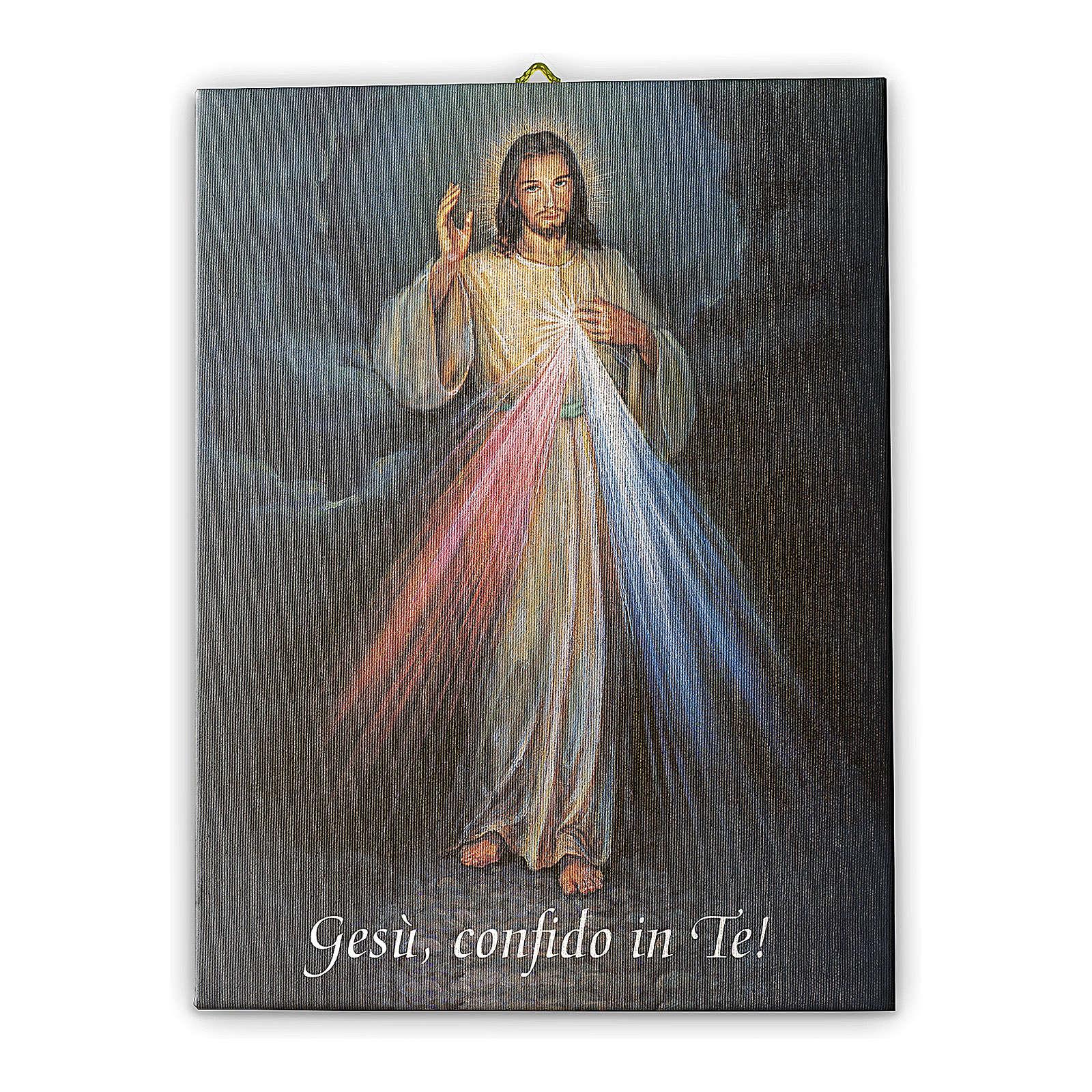 Quadro su tela pittorica Gesù Misericordioso 25x20 cm 3