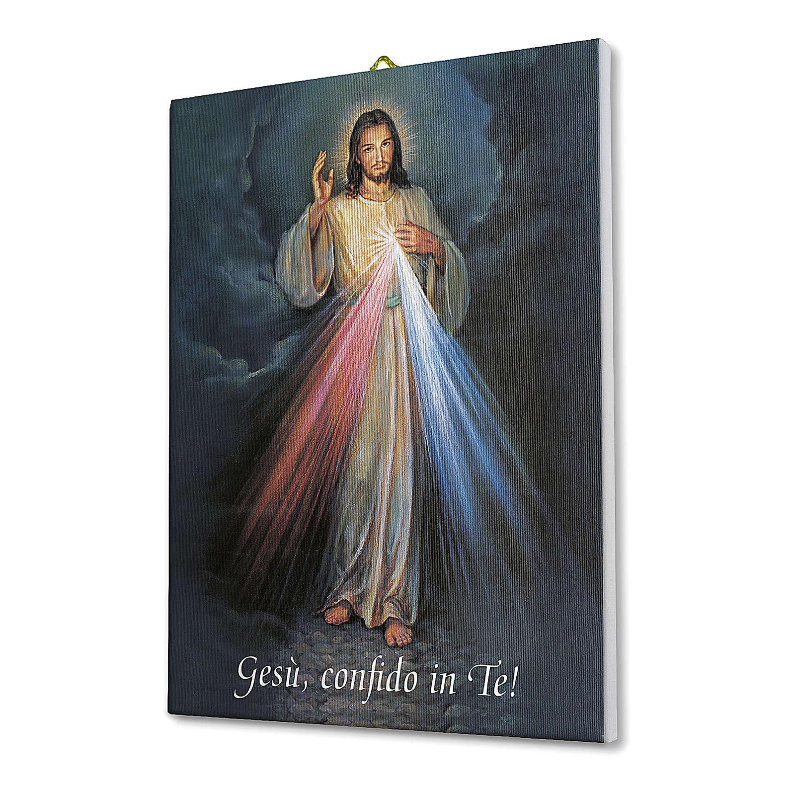 Quadro su tela pittorica Gesù Misericordioso 40x30 cm 3