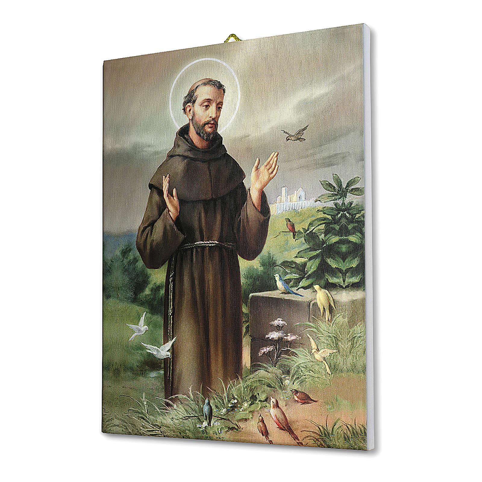 Quadro su tela pittorica San Francesco d'Assisi 25x20 cm 3