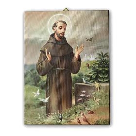 Quadro su tela pittorica San Francesco d'Assisi 25x20 cm s1