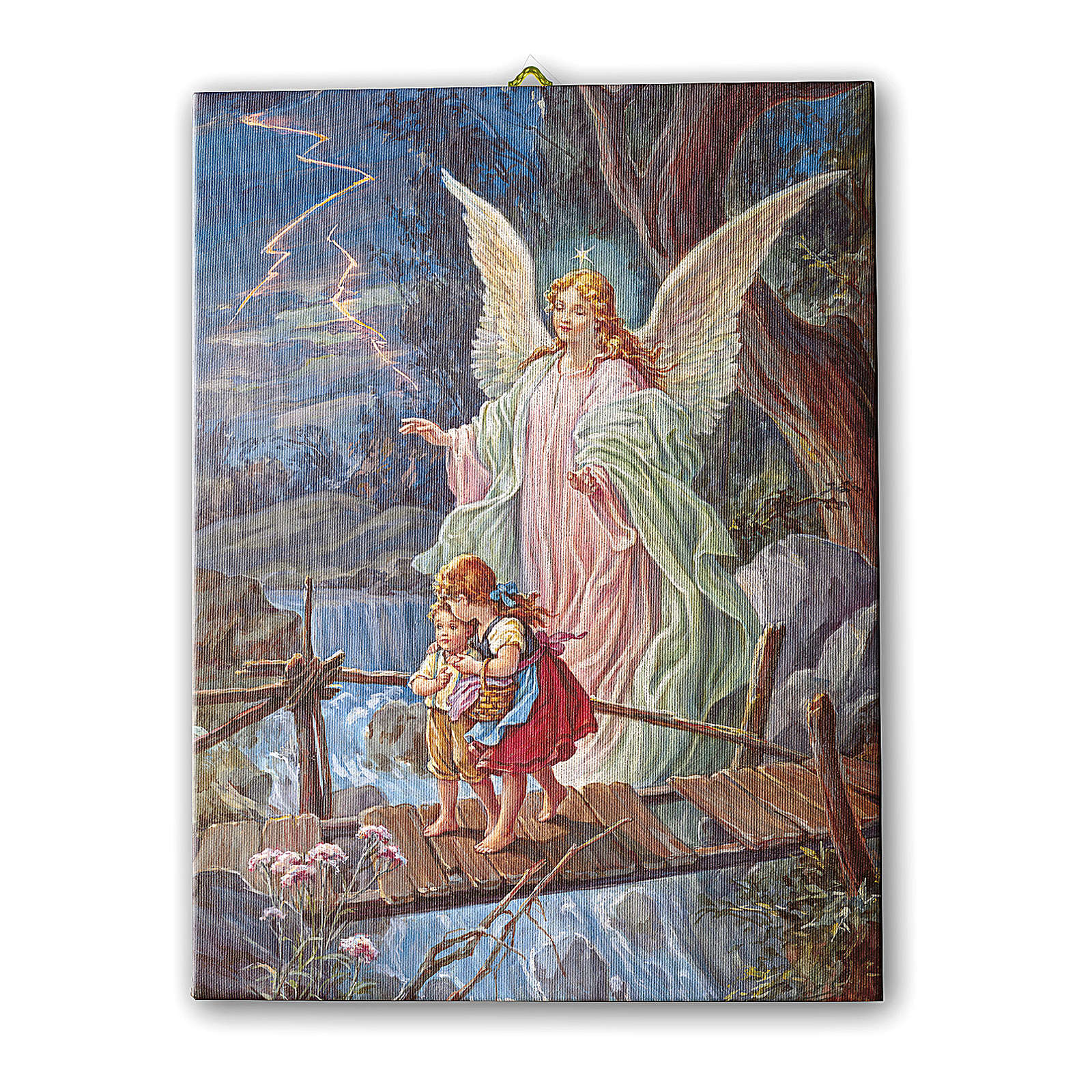 Quadro su tela pittorica Angelo Custode 40x30 cm 3
