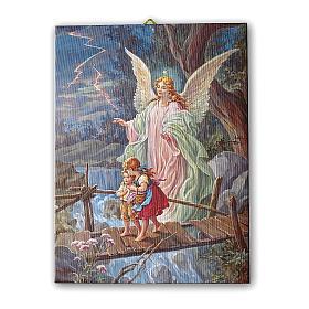 Quadro su tela pittorica Angelo Custode 40x30 cm s1