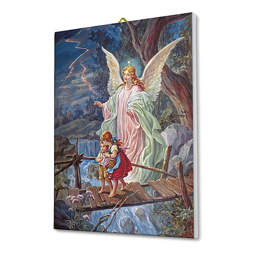 Quadro su tela pittorica Angelo Custode 40x30 cm 2