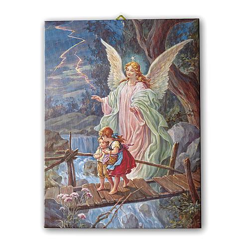 Quadro su tela pittorica Angelo Custode 70x50 cm 1