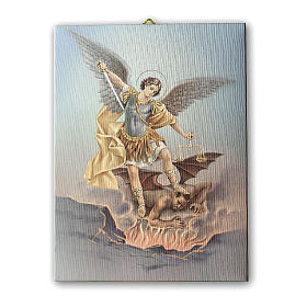 Quadro su tela pittorica San Michele Arcangelo 25x20 cm s1