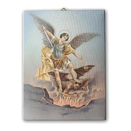 Quadro su tela pittorica San Michele Arcangelo 25x20 cm 1