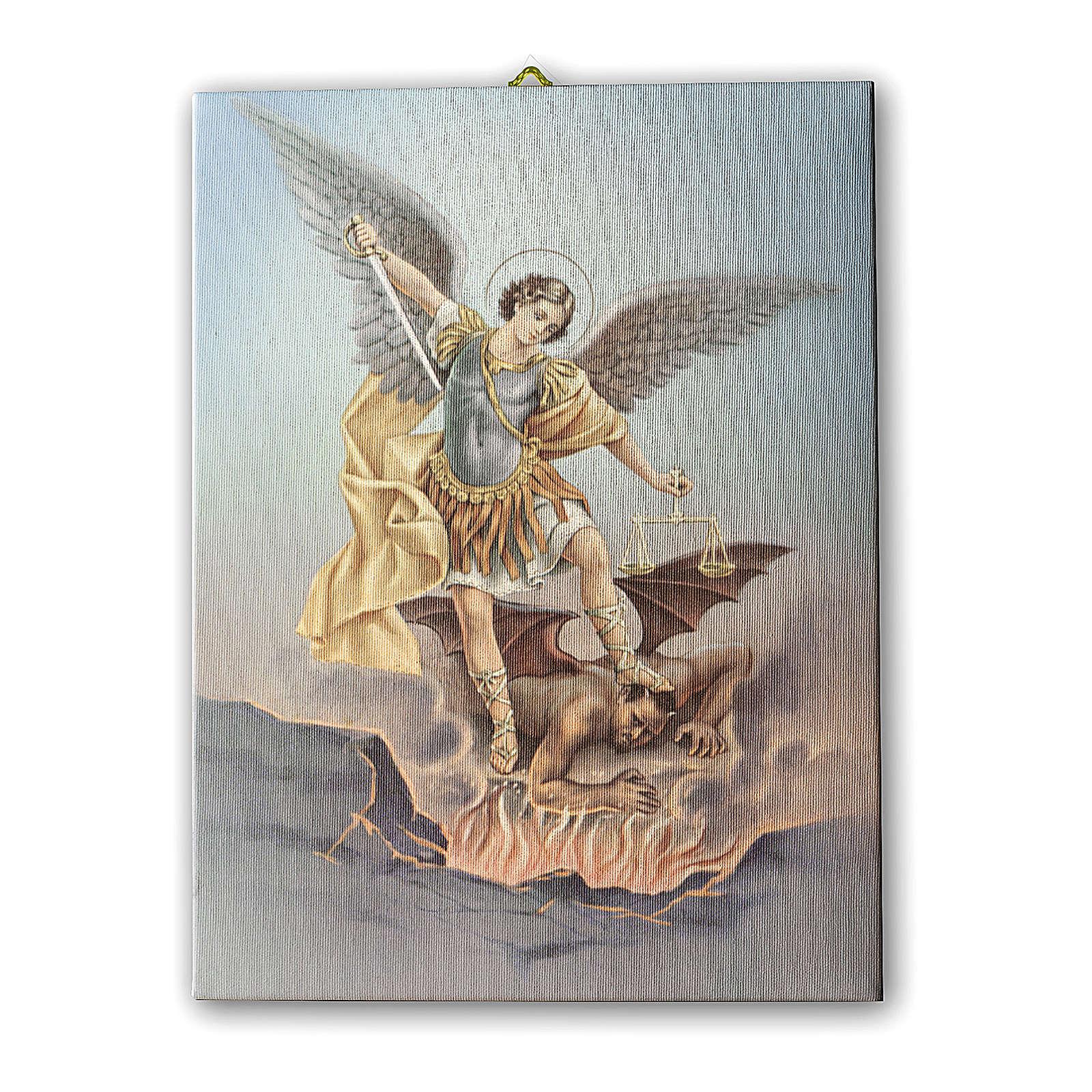 Quadro su tela pittorica San Michele Arcangelo 40x30 cm 3