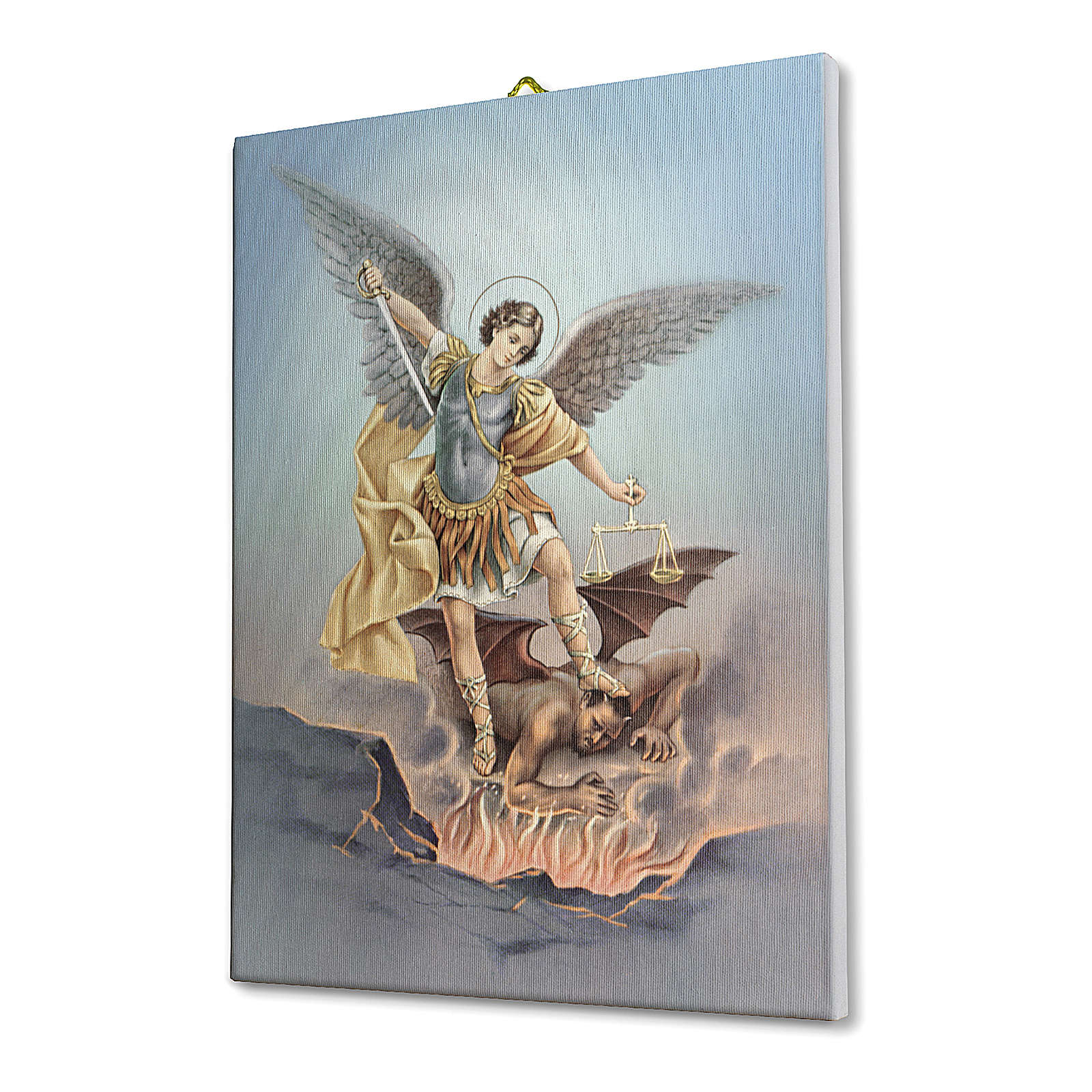 Quadro su tela pittorica San Michele Arcangelo 70x50 cm 3