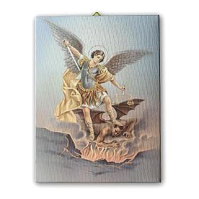 Quadro su tela pittorica San Michele Arcangelo 70x50 cm s1