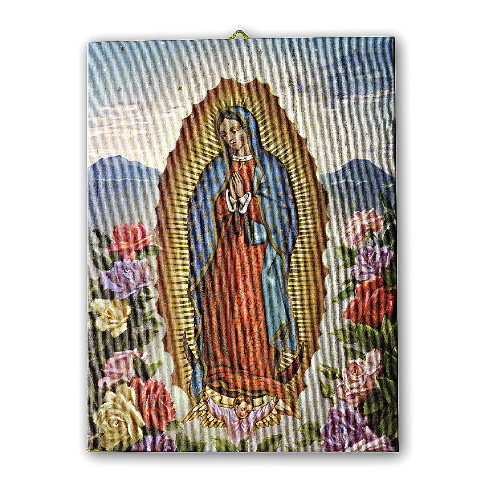 Quadro su tela pittorica Vergine di Guadalupe con le Rose 25x20 cm 3