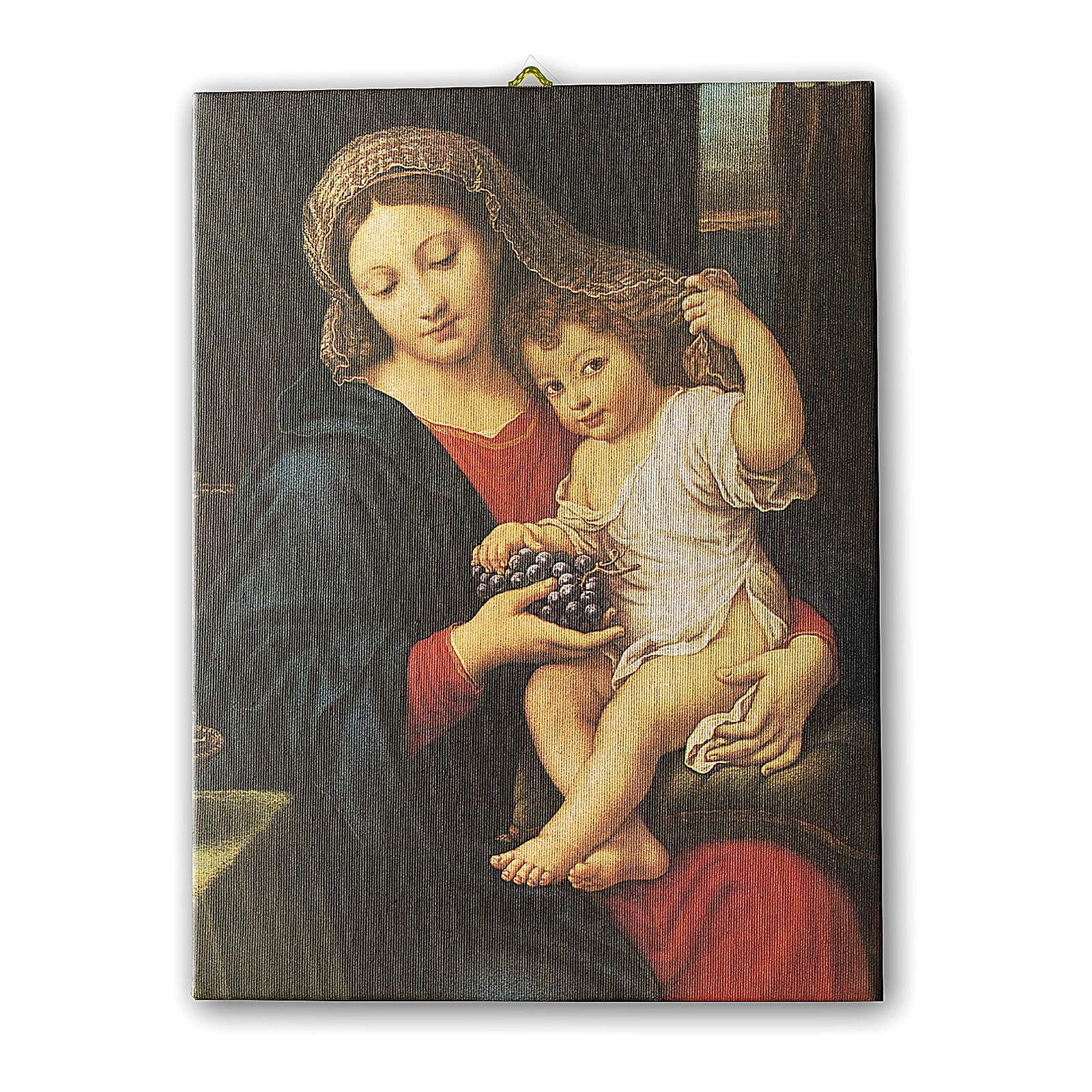 Quadro su tela pittorica Madonna dell'Uva di Pierre Mignard 25x20 cm 3