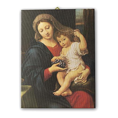 Quadro su tela pittorica Madonna dell'Uva di Pierre Mignard 25x20 cm 1