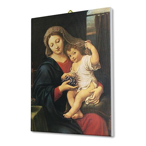 Quadro su tela pittorica Madonna dell'Uva di Pierre Mignard 25x20 cm 2