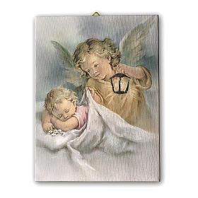 Cadre sur toile Ange Gardien avec lanterne 25x20 cm s1