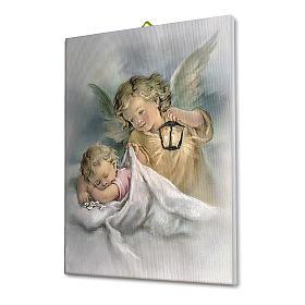 Cadre sur toile Ange Gardien avec lanterne 25x20 cm s2