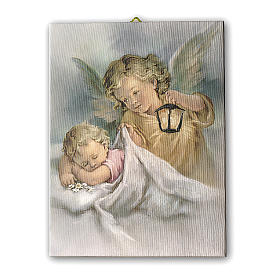 Quadro su tela pittorica Angelo Custode con Lanterna 25x20 cm s1